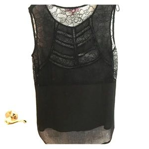 [Romeo & Juliet Couture] Sheer Lace Tank Hi/Low